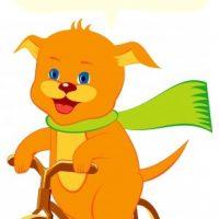 自転車に乗る子犬