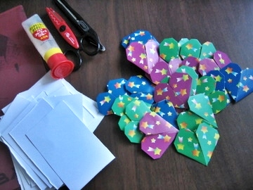 折り紙のバレンタインカード