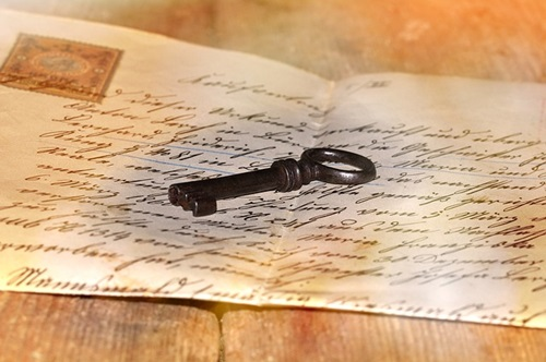 old letter and key